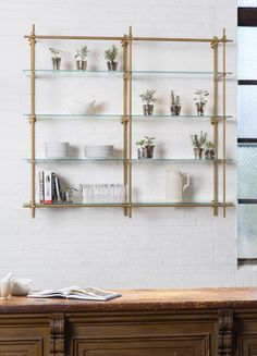 Open Kitchen Shelves using our Collector's Shelving System with Glass Shelves. The hint of green from the glass mixed with the brass finish make for a perfect duo! Brass Shelving in the kitchen is key.