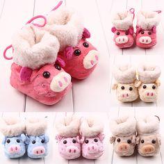 Мода поросенок мультфильм зимой младенец малыша ботинки теплые хлопковые пинетки зимние кроватки обувь bebe кроссовки впервые уокер носки 0-1Y