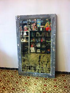 decoración vintage, antiguitats-baraturantic: antiguo espejo decapé retro