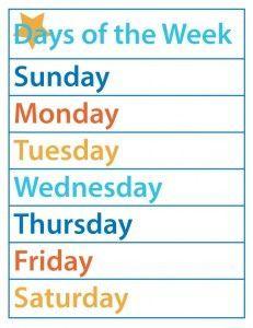 Days of the Week – Free Printable