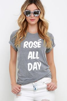 Private Party Rose' All Day Heather Grey Tee at Lulus.com!