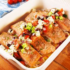 Greek Baked Salmon Diet , , Greek Baked Salmon We love this meal because it comes with lots of veggies! If you want to be extra-healthy, serve the salmon over a bed of arugula or. Baked Salmon Recipes, Fish Recipes, Indian Recipes, Salmon Dishes, Fruit Dishes, Salmon Meals, Salmon Food, Cuisine Diverse, Seafood Dinner