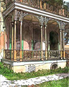 John Boles   WATERCOLOR              Garden District Home