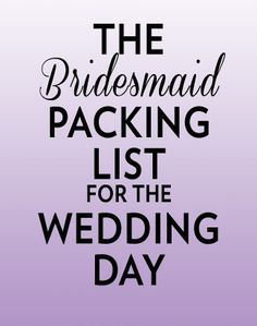 Everything bridesmaids should pack for the wedding day, plus lots of tips to make everything go smoothly! Such a comprehensive list!