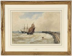 Thomas Bush Hardy (British, CALAIS (Sailing Off Pier) watercolor, framed, signed & dated lower right: 1814 sight His Travel, Sailing, Art Gallery, British, Watercolor, Pen And Wash, Art Museum, Watercolour