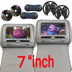"169.38$  Watch now - http://alirqn.worldwells.pw/go.php?t=32746138744 - ""Car Autoradio Audio 2 x 7"""" Gary Leather Car CD DVD/Multimedia Headrests Video Player pillow 2xfree IR Headphones FM Transmitter"""