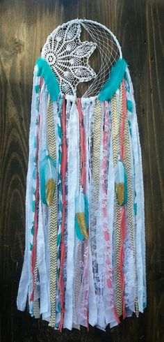 Aqua and Coral Dream catcher turquoise by TheWanderingFeather