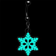 Glow in the Dark Holiday Snowflake Belly Ring | Body Candy Body Jewelry