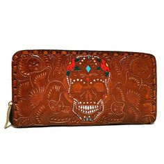 Women's Wallet, Leather, Skull , Handmade , Hand Tooled Leather, Boho, Bohemian, Large, for Cards, Gift for Her by aymxleather on Etsy Leather Tooling, Cow Leather, Cowhide Leather, Leather Wallet, Wallets For Women Leather, Cosmetic Pouch, Leather Design, Zip Around Wallet, Gifts For Her