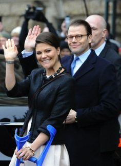 Swedish Crown Princess Victoria and Prince Daniel arrive at the city hall in Hamburg, Germany, 28.01.14.