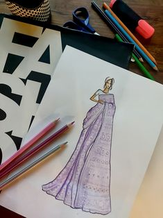 Exquisite collection of sarees embodying heritage crafts and needlework artistry Dress Design Drawing, Dress Design Sketches, Fashion Design Sketchbook, Fashion Design Drawings, Dress Illustration, Fashion Illustration Dresses, Fashion Model Sketch, Fashion Sketches, Fashion Drawing Dresses