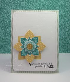 handmade card ,,, clean and simple ,,, aqua and gold on white ,,, medallion of stamped and die cut units ,, luf the look of this color combo ,,, Papertrey Ink