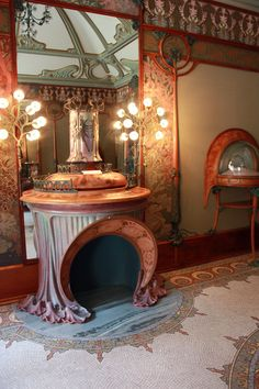 Art Nouveau fireplace, by Alphonse Mucha, at Musee Carnavalet in Paris.