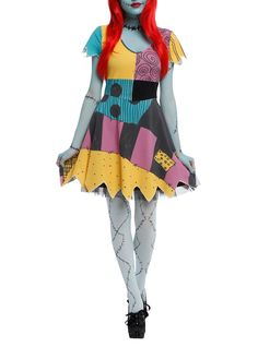 Cosplay dress from <i>The Nightmare Before Christmas</i> with a Sally inspired design.