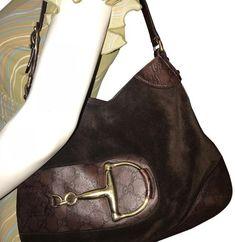 648ff073faa8 Brown Suede Leather Horsebit Bag