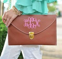 Brown Monogramed Envelope Clutch Purse