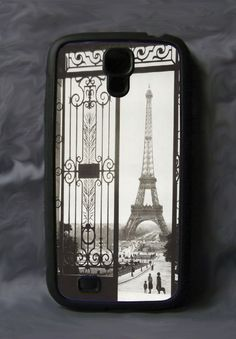 Custom Black Rubber Cell Cover for Galaxy S4 ~ Eiffel Tower Wrought Iron Gate #UnbrandedGeneric