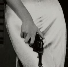 black and white gun white silk dress Bonnie Parker, Bonnie Clyde, Mafia, From Dusk Till Down, Mrs Hudson, Markova, The Man From Uncle, Peggy Carter, Veronica Lake