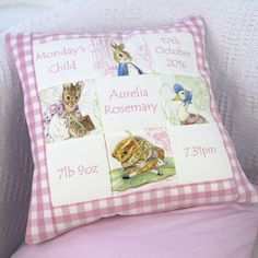 This gorgeous handmade cushion features four adorable Beatrix Potter characters. Embroidered with names and birth details, this is an amazing keepsake for a newborn baby and will look wonderful in any child's nursery or bedroom. Beatrix Potter Nursery, Peter Rabbit Nursery, Little Girl Gifts, Handmade Cushions, Lavender Sachets, Baby Love, Baby Baby, Baby Gifts, New Baby Products