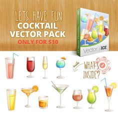 Vector packs and clip art, Vectors illustration, fonts and high resolution Stock Images. Chose from more than 5000 stock graphic files. Vector Graphics, Vector Art, Cocktails Vector, Pink Martini, Glass Of Champagne, Tequila Sunrise, Photo Books, Let's Have Fun, Mojito