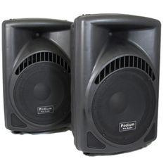 Podium Pro PP1204CD Pair 1200W DJ PA Powered 12-inch Speakers w/ Flash Drive PP1204CD-PR