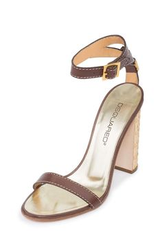 Dsquared2 Women D2 Brown & Gold Leather Block Heel Ankle Strap Sandals Shoes US 10 EU 40. Adjustable ankle strap. Golden 110mm heel. Leather lining and sole. IMPORTANT: See Our Shoes Buying Guide & Policy.