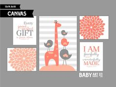 Coral and Grey Nursery art prints, Canvas, Set of 5, Family, Birds, Giraffe, James 1:17, Psalm 139 14 ( MS10111 )
