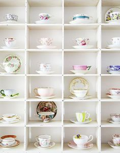 I'm hopelessly devoted to tea cups and coffee mugs. One day, I'll have my tea cup collection displayed just so, near my coffee station Tea Cup Display, Colorful Roses, Floating, Displaying Collections, My Cup Of Tea, Vintage China, Vintage Teacups, Cup And Saucer, Tea Time