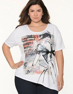 Fun fashion tee works attitude into your look with a bow-embellished newspaper graphic and trendy asymmetric hem. #LaneBryant