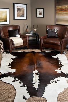 Feeling bored with the rigidity of your current living room design? Learn more on how to create a Bohemian-styled interior to 'spice up' your living room. Room Rugs, Rugs In Living Room, Living Room Designs, Living Room Decor, Area Rugs, Western Living Rooms, Manly Living Room, Dining Room, Cowhide Decor