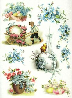 Ricepaper/Decoupage paper, Scrapbooking Sheets Vintage Easter Time
