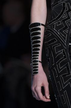 Elongated Cuff with repeating oval shapes; elegant statement jewellery; bold runway jewelry // Atelier Versace