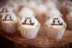 Owl fondant cupcake toppers #camping