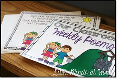 Little Minds at Work: Freebie Kindergarten Weekly Poems with a tutorial on how to use on the smartboard Kindergarten Poetry, Kindergarten Rocks, Kindergarten Classroom, My School Life, School Fun, Pre School, Literacy Activities, Literacy Stations, Language Activities