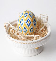 Ikat in Yellow and Blue- 3 Color Pysanka Egg. $20.00, via Etsy.