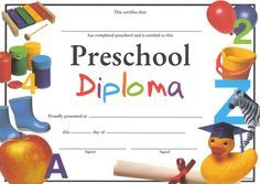 preschool diploma templates free