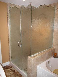 Custom glass shower door installation