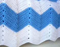 Baby Blanket Crocheted for a Baby Boy,in colours Blue and White,Chevron Design