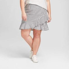 fb5067dd68 A New Day Women's Plus Size Asymmetrical Ruffle Skirt - A New Day White/ Black