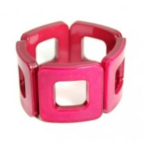 """Style# B791  Latest trend in both resin and stretch  - Height: 2"""" - Stretchy Cuff - Acrylic Squares - Nickel and Lead Compliant (Hypoallergenic)"""