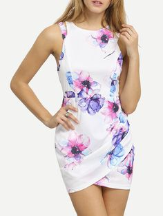 White Contrast Cut Out Floral Wrap Dress. Sexy pink blue and white floral wrap dress. Beautiful print dress! Belt :NO Fabric :Fabric is very stretchy Season :Summer Type :Tunic Pattern Type :Floral Sl