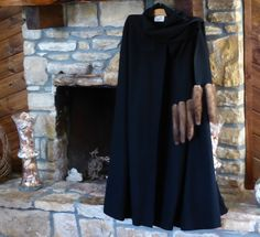 Black Wool Cape with MINK Tail Accents by C'est Simone 1970s by MyFrenchTexas on Etsy