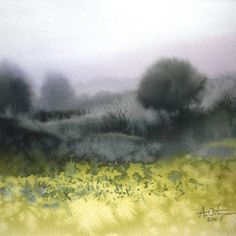 Watercolor Images, Watercolor Trees, Watercolor Artwork, Watercolor Artists, Abstract Landscape Painting, Watercolor Landscape, Landscape Art, Landscape Paintings, Pictures To Paint