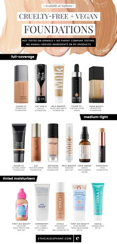 Cruelty-Free & Vegan Foundations Vegan foundation options available at Sephora! Not tested on animals, no parent company animal testing, and no animal ingredients. Maquillaje Halloween, Makeup For Teens, Diy Beauty, Beauty Tips, Beauty Hacks, Beauty Care, Beauty Skin, Homemade Beauty, Beauty Ideas