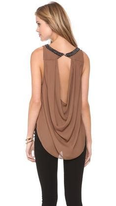 Haute Hippie Cowl Back Tank, Joanna this would look great on you. Passion For Fashion, Love Fashion, Womens Fashion, Fashion Design, Casual Outfits, Cute Outfits, Haute Hippie, Mode Style, Diy Clothes