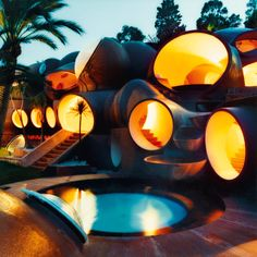 Pierre Cardin's bubble house on the Cote d'Azur. The Bubble House in Cannes (France). In the early eighties, fashion designer Pierre Cardin bought this atypical summer house built by architect Antti Lovag. Photographed by Mai-Linh Architecture Unique, Interior Architecture, Interior Design, Residential Architecture, Classical Architecture, Pavilion Architecture, Sustainable Architecture, Theoule Sur Mer, Architecture Organique