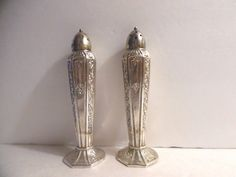 Pair Ornate Metal Salt And Pepper Shakers, DSP Co 225