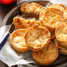 Mini Pork Pies Recipe -I discovered my love of pork pies as a child when I used to help my father deliver oil on Saturdays and we would stop at a local pork pie place for lunch. —Renee Murby, Johnston, Rhode Island