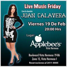 Amigos Calavera! Mañana tocaremos en @applebeesgt de Vista Hermosa! Estás listo para sacudir los Huesos? #livemusic