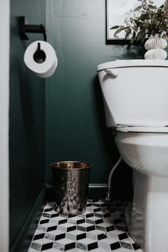 Dark Green Powder Room Reveal - Meg Biram It's not lost on me how lucky I am that my husband can bring most of my renovation dreams to life. He's extremely handy, loves to build things, and in this particular case — he used to … Small Toilet Room, Guest Toilet, Downstairs Toilet, Small Bathroom, Bathroom Ideas, Black Powder Room, Green Powder, Powder Room Decor, Powder Room Design